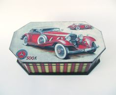 Red Retro Mercedes Decoupeded Box MDF Vintage Look by NataliaDecor, $60.00