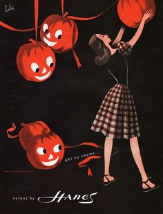 Darling Halloween themed vintage Hanes hosiery ad from 1946. #vintage #1940s #Halloween #fashion #ads
