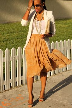 Pleated Skirt + Structured Jacket