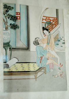 19th century Northern China Pigment on paper mounted on silk. chinese erotic pillow book  page 2