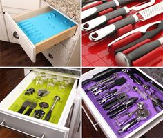 so smart! No more jumbled mess of kitchen utensils! They are 100% customizable, your buy the pieces and stick them where you need to fit your stuff. $24.95