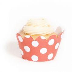 Coral Polka Dot Mini Cupcake Wrappers cupcake wrappers, polka dots, dot mini, cupcak wrapper, mini cupcakes, parti cupcak
