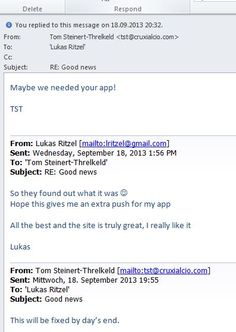 eMail between Lukas Ritzel and Tom Steinert-Threlkeld Creator and CEO of NEWS portal CruxialCio.com - There was an initial technical problem and misunderstanding of the VDO interview about the new Management Thinking Mistakes App which appears to stream well in the US but no so for the rest of the world.