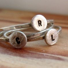 Monogram Ring with Initial Sterling Silver