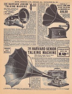 Double Sided Vintage Phonograph Graphophone Music Advertisement- Sears Roebucks Catalog 1905-1910.