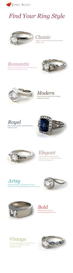 Find Your Ring Style!  Is your dream engagement ring classic, romantic, modern, royal, elegant, artsy, bold or vintage? Whatever it may be, you can find it at www.jamesallen.com !  #engagementring #engagement #ring