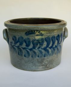 Rare American Blue Decorated Stoneware. Beaver County Pennsylvania Cobalt Decorated 3 Gallon Cake Crock
