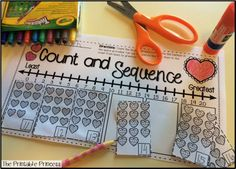 Count the hearts and then put them in order from least to greatest. Great for counting and number sequence!