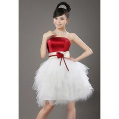 Red and white dama dress