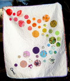 Wand and Bubbles Quilt ....quirky and I love it!  Raw edge appliqué makes this a fast baby quilt
