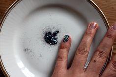 Homemade glitter nails. Base coat and glitter! Easy Peasy.
