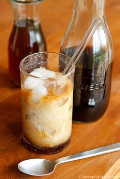 Homemade Iced Coffee  Recipe -- a perfect icy glass of homemade iced coffee that tastes just like your favorite coffeehouse.