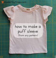 puff sleeve tee tutorial by madebyrae, via Flickr