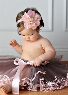 pretty in pink  baby, beautiful, gray tutu, pink satin ribbon trim, bow, pink flower in hair