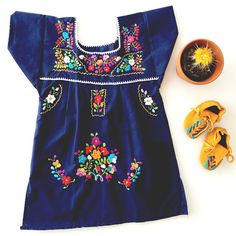 Bright Colored Mexican Peasant Dress For Little Girls / Gunn & Swain - plus a matching one for mamas!