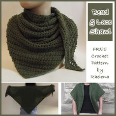 Free crochet pattern for a crochet bead and lace shawl. The shawl is started at the bottom, so you can basically crochet it to any size.