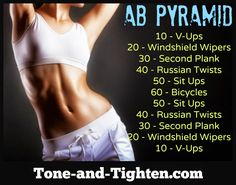 Shred your abs pyramid style with this amazing workout! Do you have what it takes? #abs #workout from Tone-and-Tighten.com