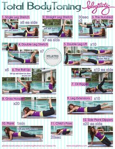 blogilates:    Total Body Toning Printable! Pilates Bootcamp.  Print this and take it with you to the gym when you don't have YouTube!