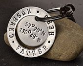 Personalized Dad Key Chain - Father's Day gift for adoptive dad with longitude and latitude