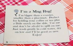 Buttons and Butterflies: Mug Rug Tag