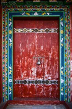 India, Sikkim Temple Door- Pemayangtse Monastery