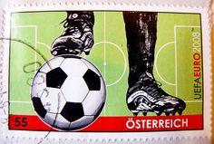 great stamp Austria 55c (football soccer, calcio, サッカー, futbolas, voetbal, fotboll, футбол, كرة القدم, futebol, fodbold) postage timbre Autr...