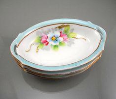 bowl set, japan, salt dish, sauc, meito china, floral designs, dish bowl, blues, bowls