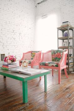 Pink chairs & green table