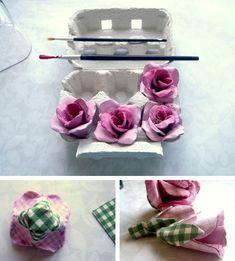 egg box, craft, egg carton rose, con huevera, diy manualidad