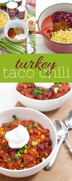 This thick and hearty turkey taco chili is surprising light thanks to a base of lean ground turkey. It's a crowd-pleaser!