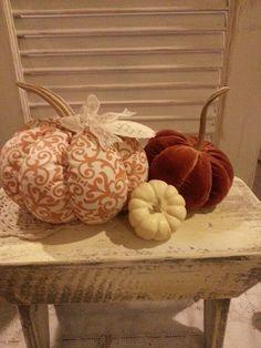 Large Cream and Orange Fabric Pumpkin with Give Thanks Tag and Real Pumpkin Stem, Pumpkins, velvet pumpkin, burlap pumpkins