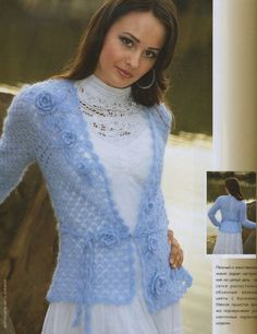 Blue Mohair Jacket free crochet graph pattern