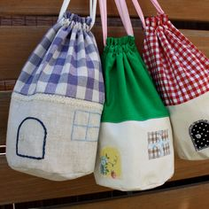 Little Houses Drawstring Bag PDF Digital Pattern Email by Robin Miyo. $5.00, via Etsy.