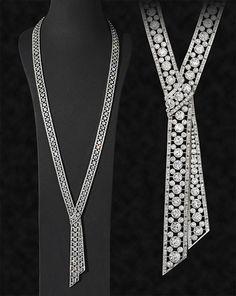 Diamond and platinum sautoir designed as a continuous diamond-set ribbon with a central knot motif, J E Caldwell Philadelphia, circa 1920