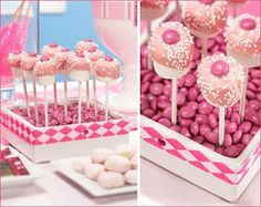 Another great cake pop display is a Vase filled with Candy. A cool trick is to take any vase {not glass or see through}, put some Styrofoam or floral foam inside, and  fill just the top with jelly beans.