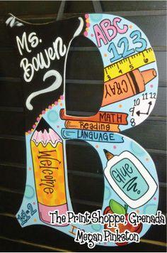 Large Teacher School Door Hanger Letters on Etsy, $44.00