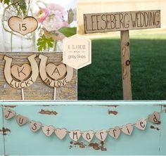 Rustic wooden wedding signs