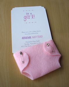 Girl Baby Shower Invitations Cute Pink Diaper - Felt and Cardstock.