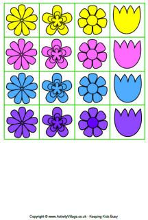 Spring flowers cards for spring flowers game