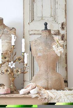 vintage chic, shabby chic, old doors, vintage dress forms, ballet shoes, shabby vintage, vintage finds, dressform, vintage decor