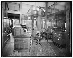 Antique 1910s Photograph Of An Office Early 1900s Interior