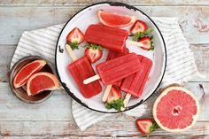 Gourmet Grapefruit and Strawberry Greyhound popsicle recipe: You can even add vodka to make it more adult.