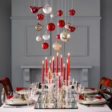 Love this idea of the ornaments above centerpiece