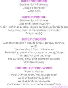Daily cleaning schedule that helps you keep your house clean in under an hour a day! Free printable!