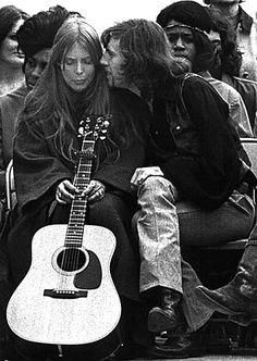Joni Mitchell and Graham Nash  The Big Sur Folk Festival, Eselan, CA ~ June, 1969