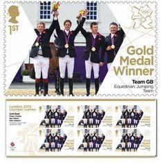 British gold medal showjumping team postage stamp.