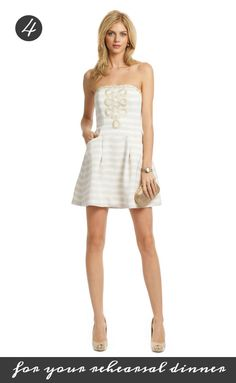 Be effortlessly preppy and pretty in this cute Lily Pulitzer pick for your rehearsal dinner! Rent it at Rent the Runway for 50 dollars: http://www.renttherunway.com/shop/designers/lillypulitzer_dresses/embroideredblossomdress