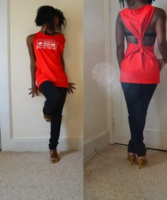 Take an oversized T-Shirt and cut the collar and sleeves off. Then go to the back of the shirt, bring the two ends of the leftover sleeve to the middle, take the scrap piece you cut off the collar and tie the ends.