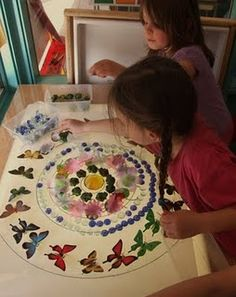 paper with circles drawn and cool materials, then let the fun begin! lights, circl, boxes, lightbox mandala, natural materials, mandalas, paper patterns, light table, kid