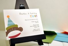 Doing a sock monkey theme this year for Dominic's bday.  Love these invitation by Olive and Star (can find on ETSY) birthday parti, sock monkeys, monkey theme, theme birthday, birthday invitations, oliv, sock monkey birthday
